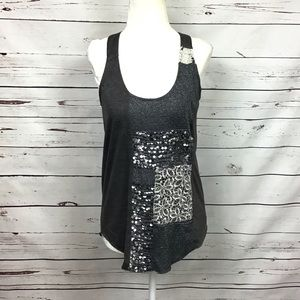 [Tiny Anthro] Patchwork Racerback Tank Silver Gray